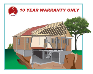 Diagram representing the structural components covered by a 10 year StrucSure new home warranty