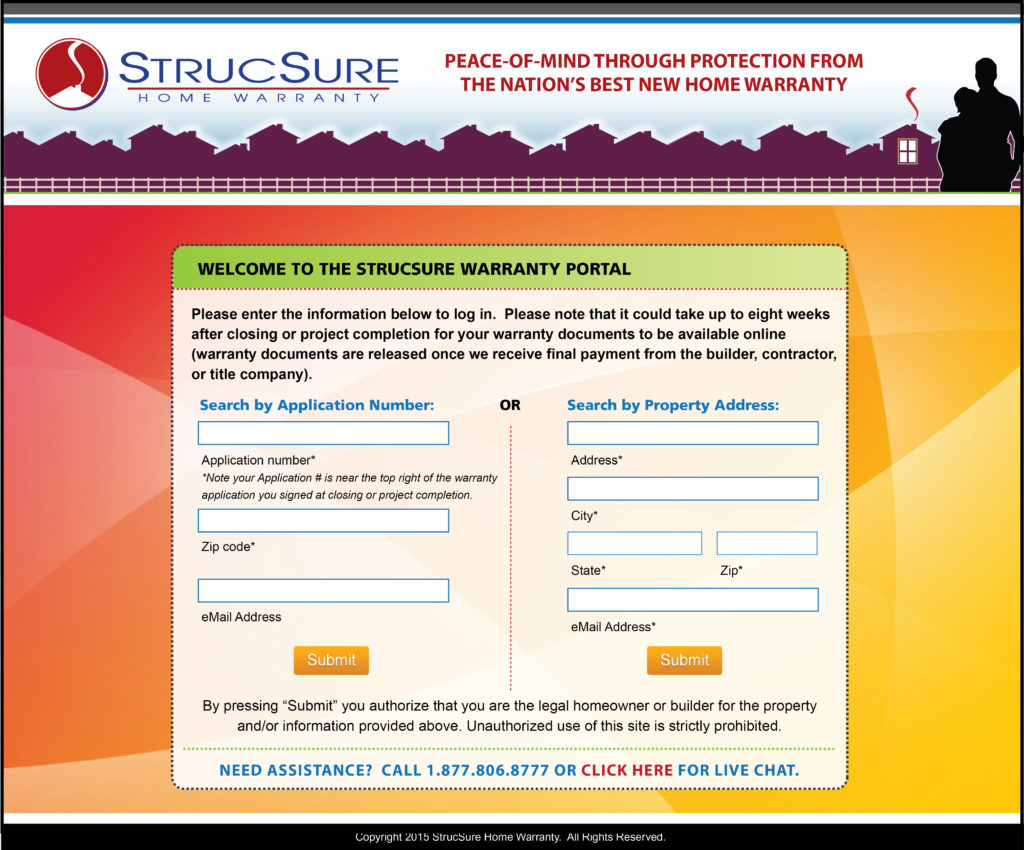 StrucSure Home Warranty Portal Screen Capture